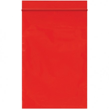 "Reclosable Poly Bags, 4 x 6"", 2 Mil, Red"
