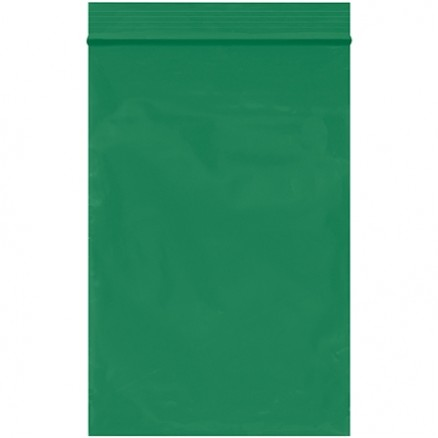 "Reclosable Poly Bags, 4 x 6"", 2 Mil, Green"