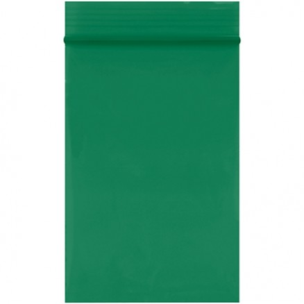 "Reclosable Poly Bags, 2 x 3"", 2 Mil, Green"