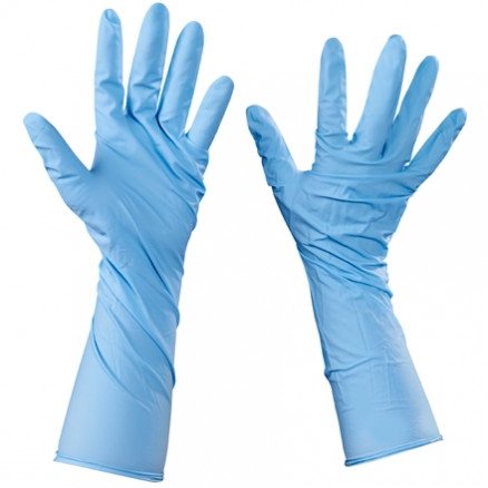 Blue Nitrile Gloves 6 Mil - Extended Cuff - Small