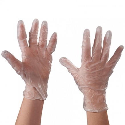 Powdered Vinyl Gloves - Clear - 3 Mil - Large