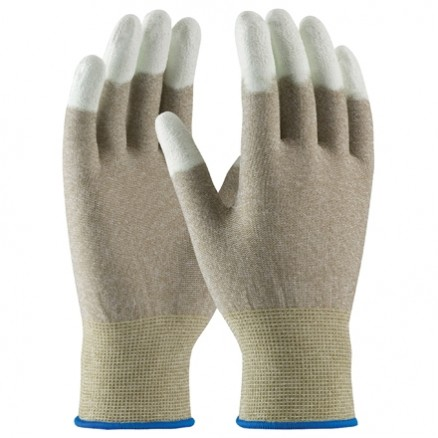 ESD Nylon Gloves - Fingertip Coated, Large