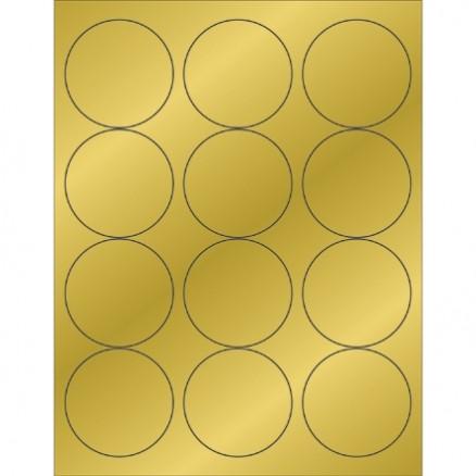 """Gold Foil Circle Laser Labels, 2 1/2"""""""