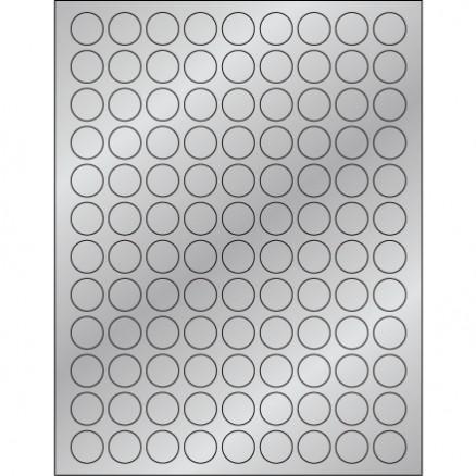 "Silver Foil Circle Laser Labels, 3/4"""
