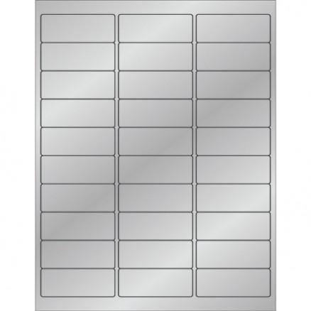 """Silver Foil Laser Labels, 2 5/8 x 1"""""""
