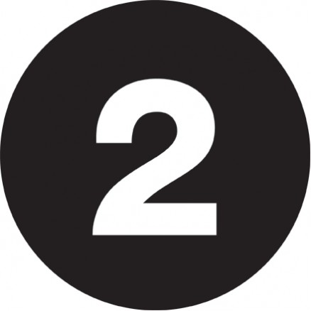 "Black Circle ""2"" Number Labels - 1"""