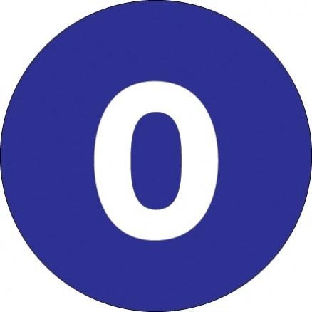 "Dark Blue Circle ""0"" Number Labels - 4"""