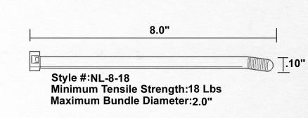 "Cable Ties, UV Natural - 8"", 18#"