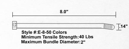 "Cable Ties, UV Orange - 8"", 40#"