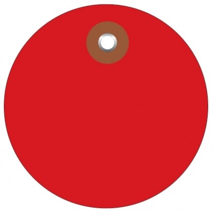Red Plastic Circle Tags - 3""