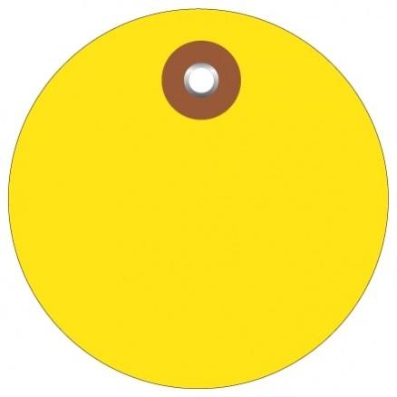 "Yellow Plastic Circle Tags - 3"""