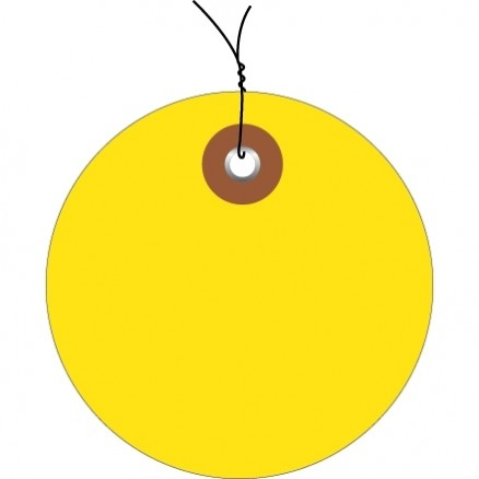 Pre-Wired Yellow Plastic Circle Tags - 3""