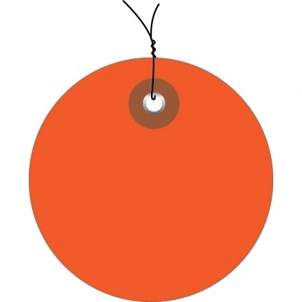 Pre-Wired Orange Plastic Circle Tags - 2""