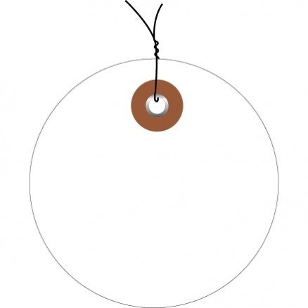Pre-Wired White Plastic Circle Tags - 2""