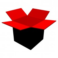 "Corrugated boxes, 10 x 10 x 10"", Black and Red"