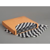 Black Checkered Dry Waxed Food Sheets, 12 x 12""