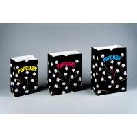 "Black Printed Popcorn Bags, 7 1/2 x 3 1/2 x 11"""