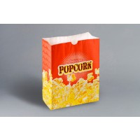 "Yellow Printed Popcorn Bags, 7 1/2 x 3 1/2 x 9 3/4"""