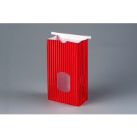Bakery Bags, Red, Window, 4 3/4 x 2 1/2 x 9 1/2""