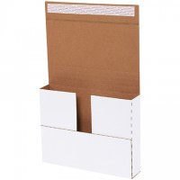 """Easy-Fold Mailers, Deluxe, White, 11 1/8 x 8 5/8"""", Multi-Depth Heights of 1/2, 1, 1 1/2, 2"""""""