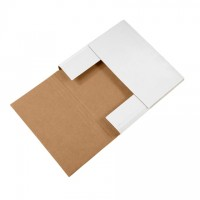 """Easy-Fold Mailers, White, 12 1/2 x 12 1/2"""", Multi-Depth Heights of 1/2, 1, 1 1/2, 2"""""""