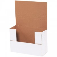 """Easy-Fold Mailers, White, 9 1/2 x 6 1/2"""", Multi-Depth Heights of 2, 2 1/2, 3, 3 1/2"""""""