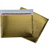 Glamour Bubble Mailers, Gold, 13 3/4 x 11""
