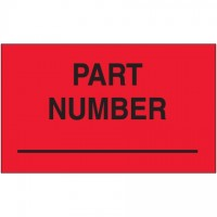 "Fluorescent Red ""Part Number"" Production Labels, 3 x 5"""