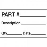 """White """"Part # - Description - Qty - Date"""" Production Labels, 3 x 5"""""""