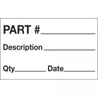 """White """"Part # - Description - Qty - Date"""" Production Labels, 1 1/4 x 2"""""""