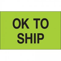 "Fluorescent Green ""OK To Ship"" Production Labels, 1 1/4 x 2"""