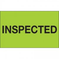 "Fluorescent Green ""Inspected"" Production Labels, 1 1/4 x 2"""