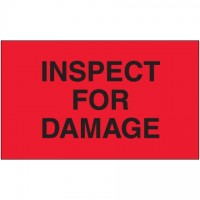 "Fluorescent Red ""Inspect For Damage"" Production Labels, 3 x 5"""