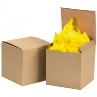 Chipboard Boxes, Gift, Kraft, 6 x 6 x 6""