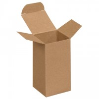 "Chipboard Boxes, Folding Cartons, Reverse Tuck, 2 x 2 x 4"", Kraft"