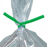Plastic Twist Ties, Green, Pre-Cut, 9 x 5/32""
