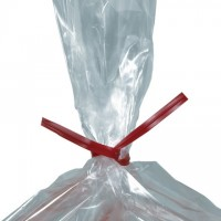 Plastic Twist Ties, Red, Pre-Cut, 5 x 5/32""