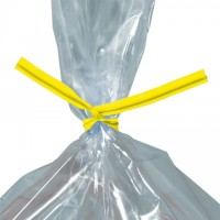 Plastic Twist Ties, Yellow, Pre-Cut, 4 x 5/32""