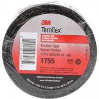 "3M 1755 Cotton Friction Tape, 3/4"" x 60', Black"