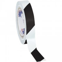 "Black/White Striped Vinyl Tape, 1"" x 36 yds., 7 Mil Thick"