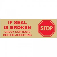 """Stop If Seal Is Broken... Tape, Tan, 2"""" x 55 yds., 2.2 Mil Thick"""