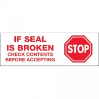 """Stop If Seal Is Broken Tape, 2"""" x 110 yds., 2.2 Mil Thick"""
