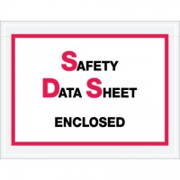 "SDS ""Safety Data Sheet Enclosed"" Envelopes, Printed Clear, 6 1/2 x 5"""