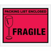 """Packing List Enclosed - Fragile"" Envelopes, Red, 4 1/2 x 5 1/2"""
