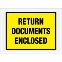 """Return Documents Enclosed"" Envelopes, Yellow, 7 1/2 x 5 1/2"""