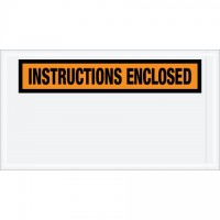 """Instructions Enclosed"" Envelopes, Orange, 5 1/2 x 10"""