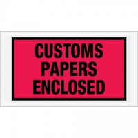 """Customs Papers Enclosed"" Envelopes, Red, 5 1/2 x 10"""