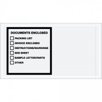 """Documents Enclosed"" Envelopes, Printed Clear, 5 1/2 x 10"""