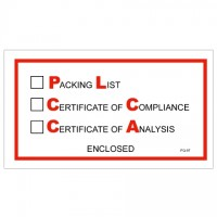 """Packing List/Cert of Compliance/Cert. of Analysis Enclosed"" Envelopes, Red/Black, 5 1/2 x 10"""