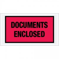 """Documents Enclosed"" Envelopes, Red, 5 1/2 x 10"""